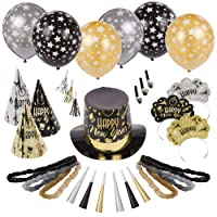 Amscan Black Tie Affair 2021 New Year's Eve Party Kit for 50, Includes Top Hats, Cone Hats and Tiaras