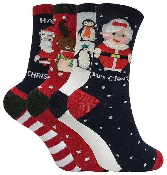 4 pack mujer calcetines navidad incluso santa y reno 37-42 eur (37-