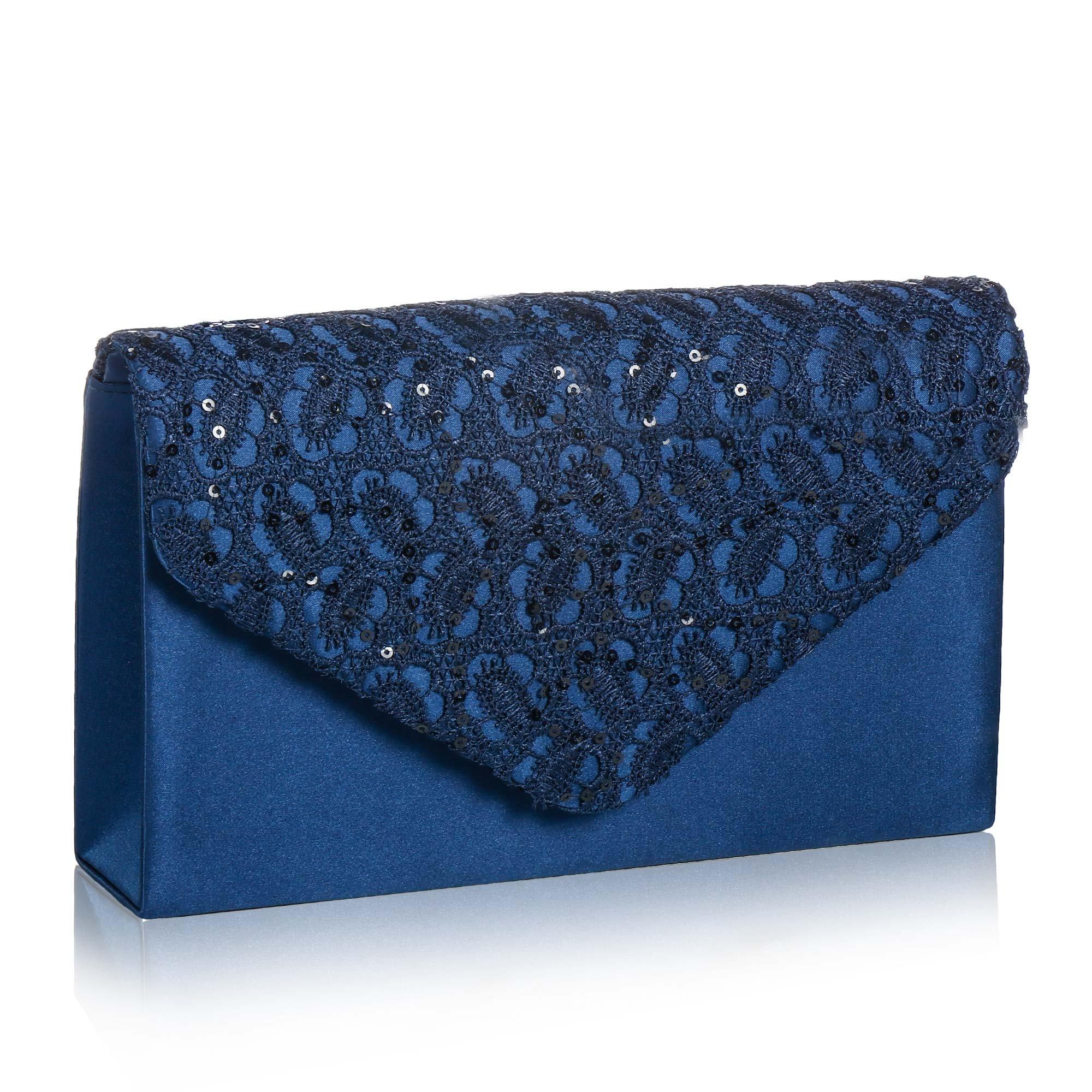Womens Elegant Floral Lace Envelope Clutch,Wallyns Evening Bag Handbag Navy