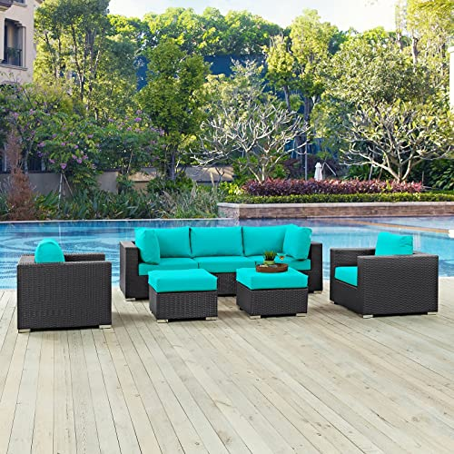 Modway EEI-2200-EXP-TRQ-SET Convene Collection Outdoor Patio Sectional Set, Seating For Five, Espresso Turquoise