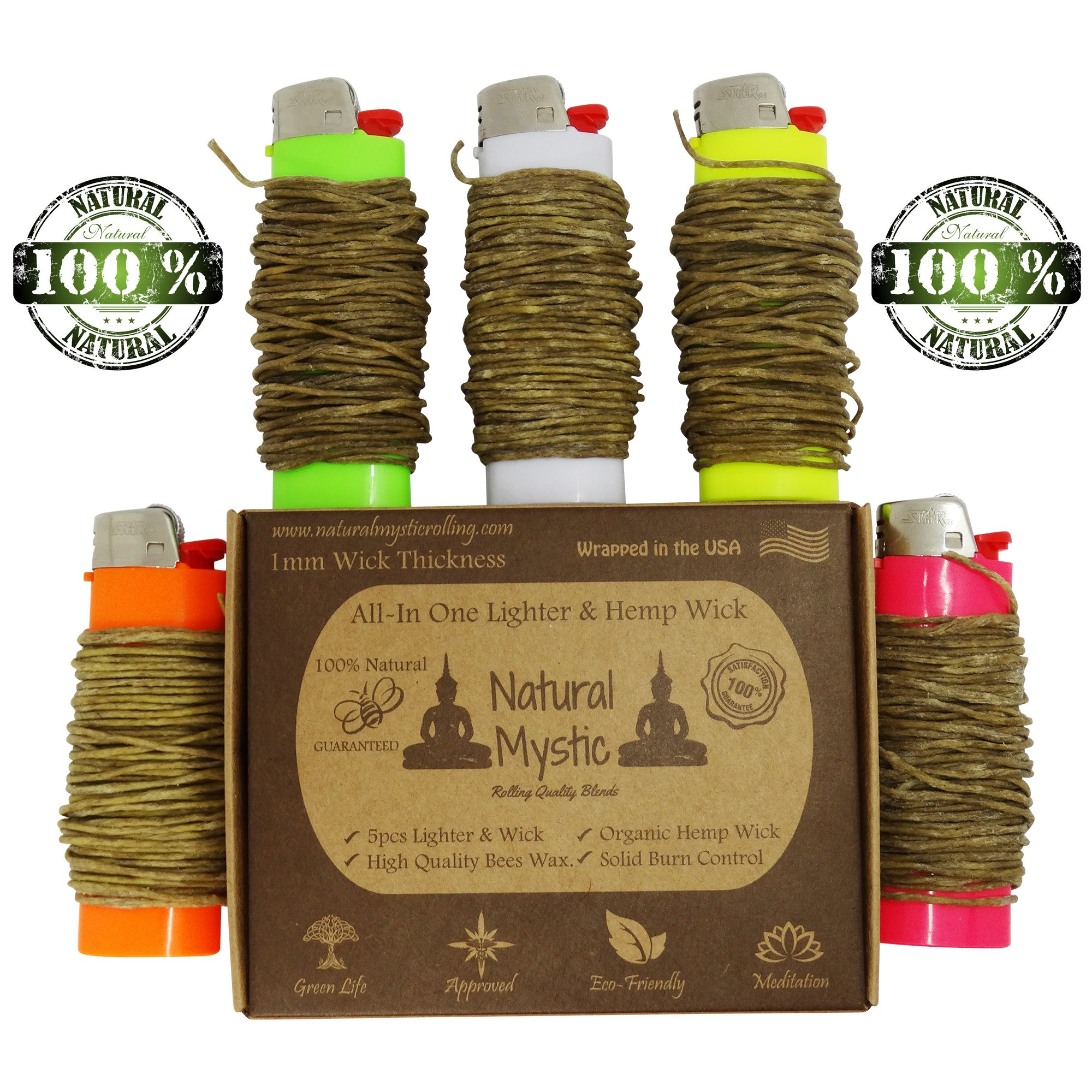 Hemp Wick Dispenser Lighter - Poker Tool - Stiff Beeswax Perfect Flame Placement Tightly Wrapped 5 High Quality Lighters 20ft Each Total 100ft Natural Mystic Pocket Size Convenient