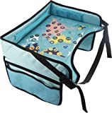 """Kids Car Seat Travel Tray - """"Travel & Learn"""" Waterproof Activity Lap Tray for Eating and Play, Wide Solid 16"""" by 12"""" Surface with Mesh Pockets by KiddyByte"""
