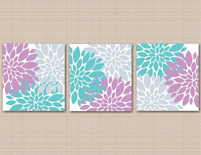 Amazoncom Lavender Teal Gray Wall Art Purple Aqua Floral Décor