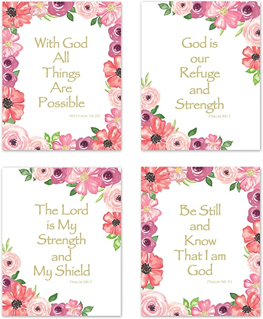 com kb me inspirational bible verse wall art pink green