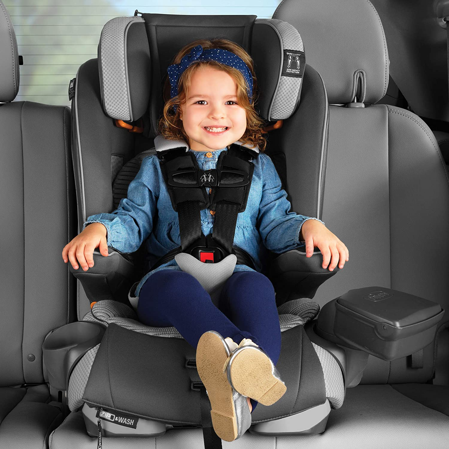Chicco MyFit Zip Air 2-in-1 Harness Booster Car Seat for Toddlers and Big Kids, 5-Point Harness, Belt-Positioning Booster, Zip-and-Wash Fabrics, 3D AirMesh for Breathability, Q Collection
