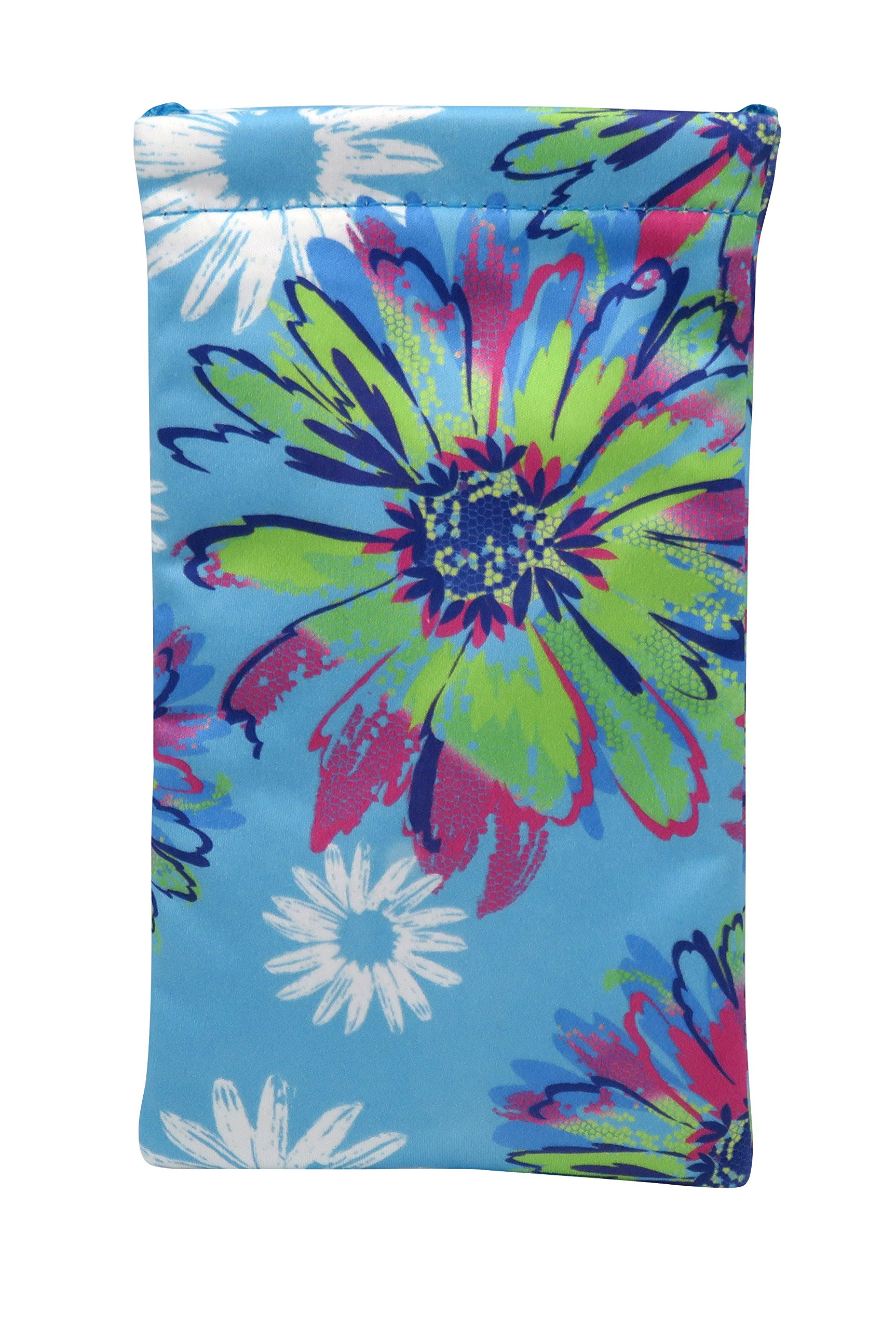 Floral Sunglass Pouch & Eyeglass Pouch, Squeeze Top XL Eyeglass Case with Cleaning Cloth, Medium To Oversized Frames Glasses Case, Smart Phone, Design by Rachel Rowberry (Pop Flower)