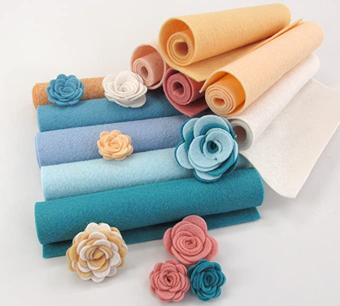 Red Brick OTR Felt Made in USA 24 Wool Blend Felt 3D Roses Die Cut Applique Flowers