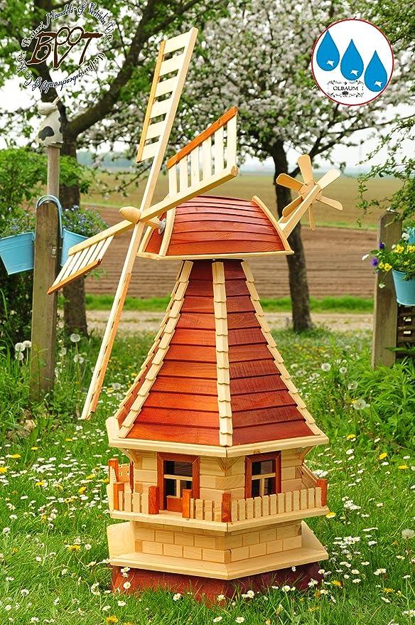 Madera Completo de molino de viento, Jardín Molino de viento aprox. 130 cm, madera maciza einstöckig