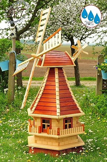 Grosse Holz Windmuhle Neu Gartenwindmuhle Modern 130 Cm Vollholz