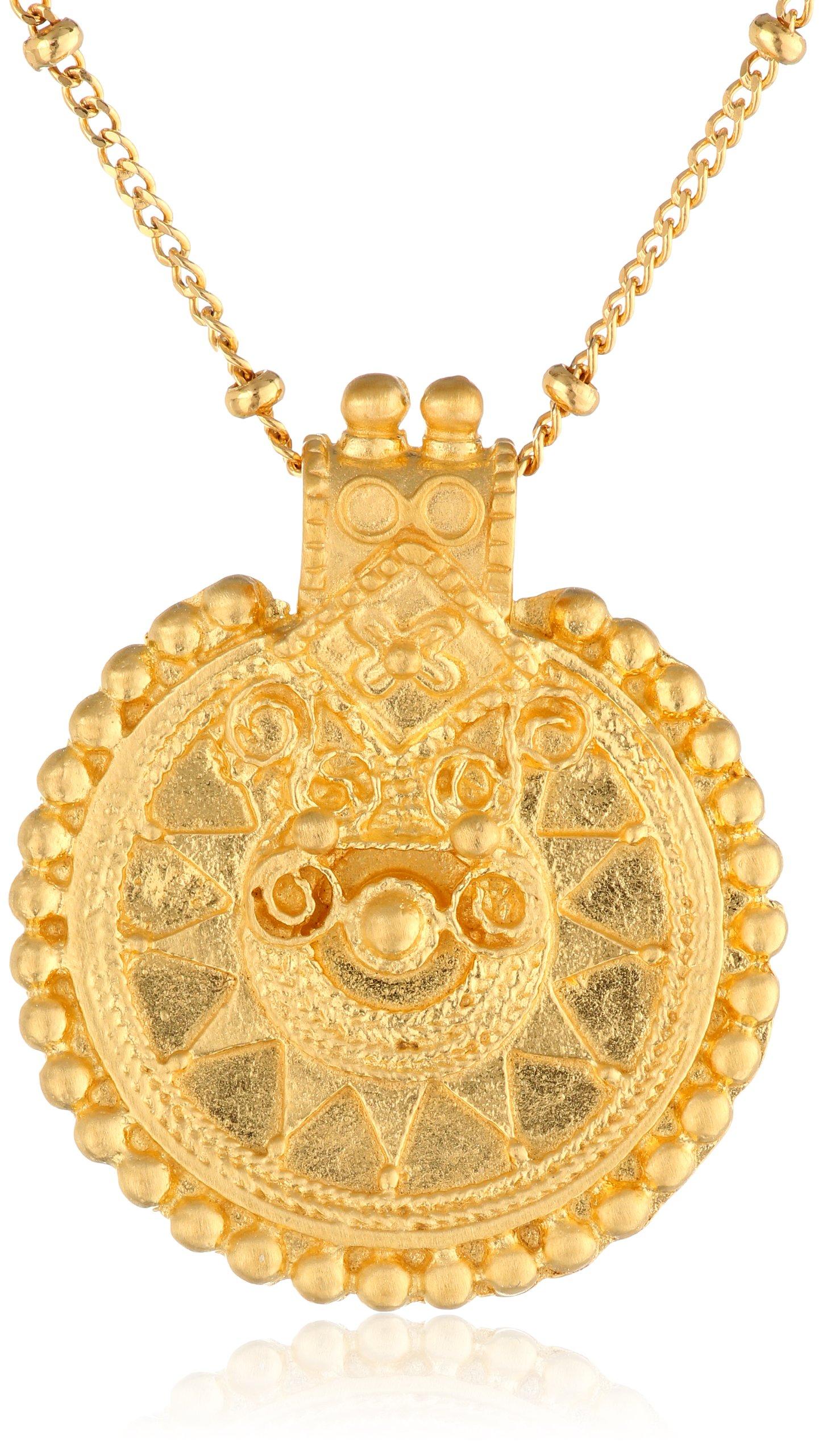 Satya Jewelry Classics Gold Long Mandala Pendant Necklace (36-Inch)
