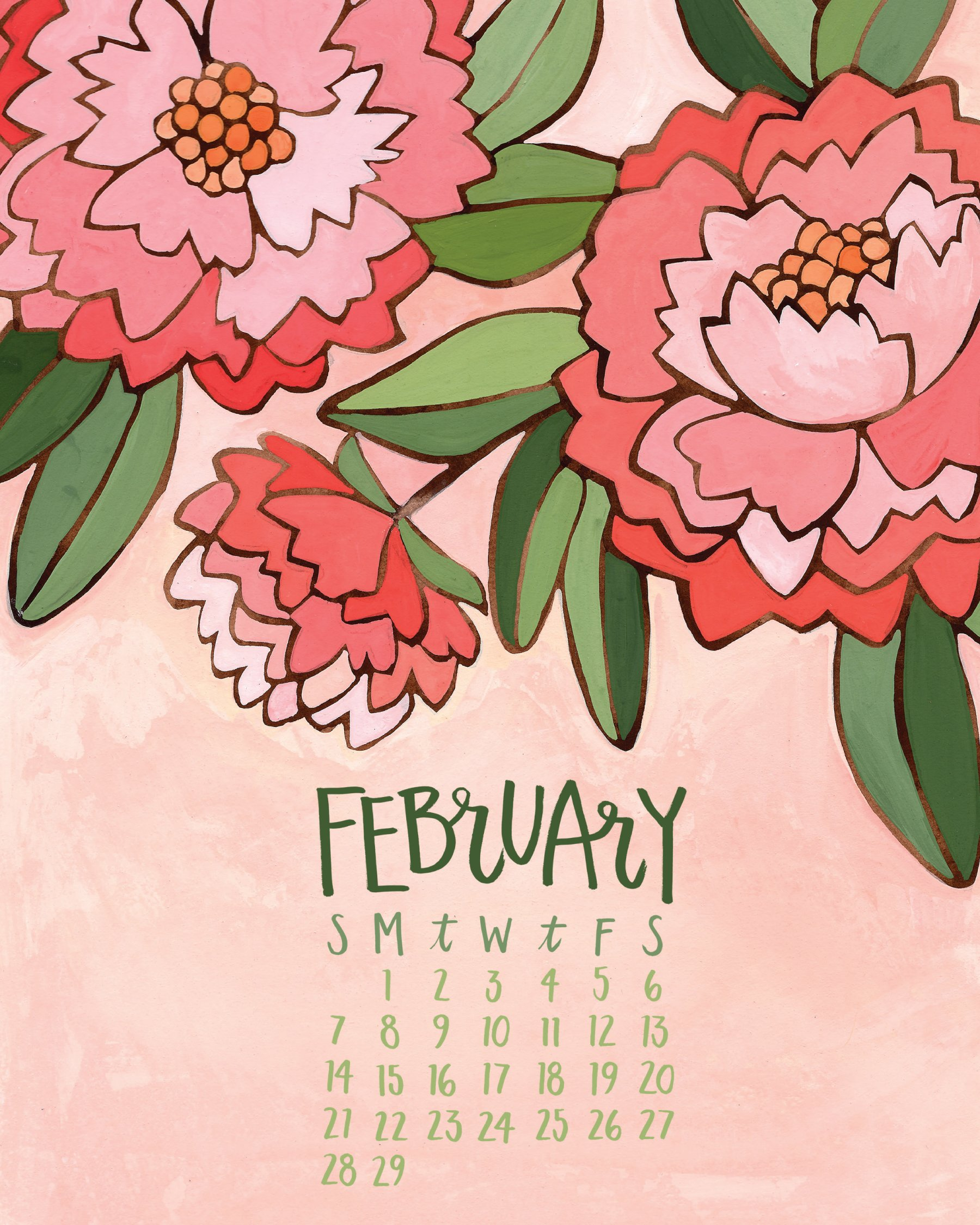 Illustrated Flower Page A Month Desk Easel Calendar 2016 1canoe2