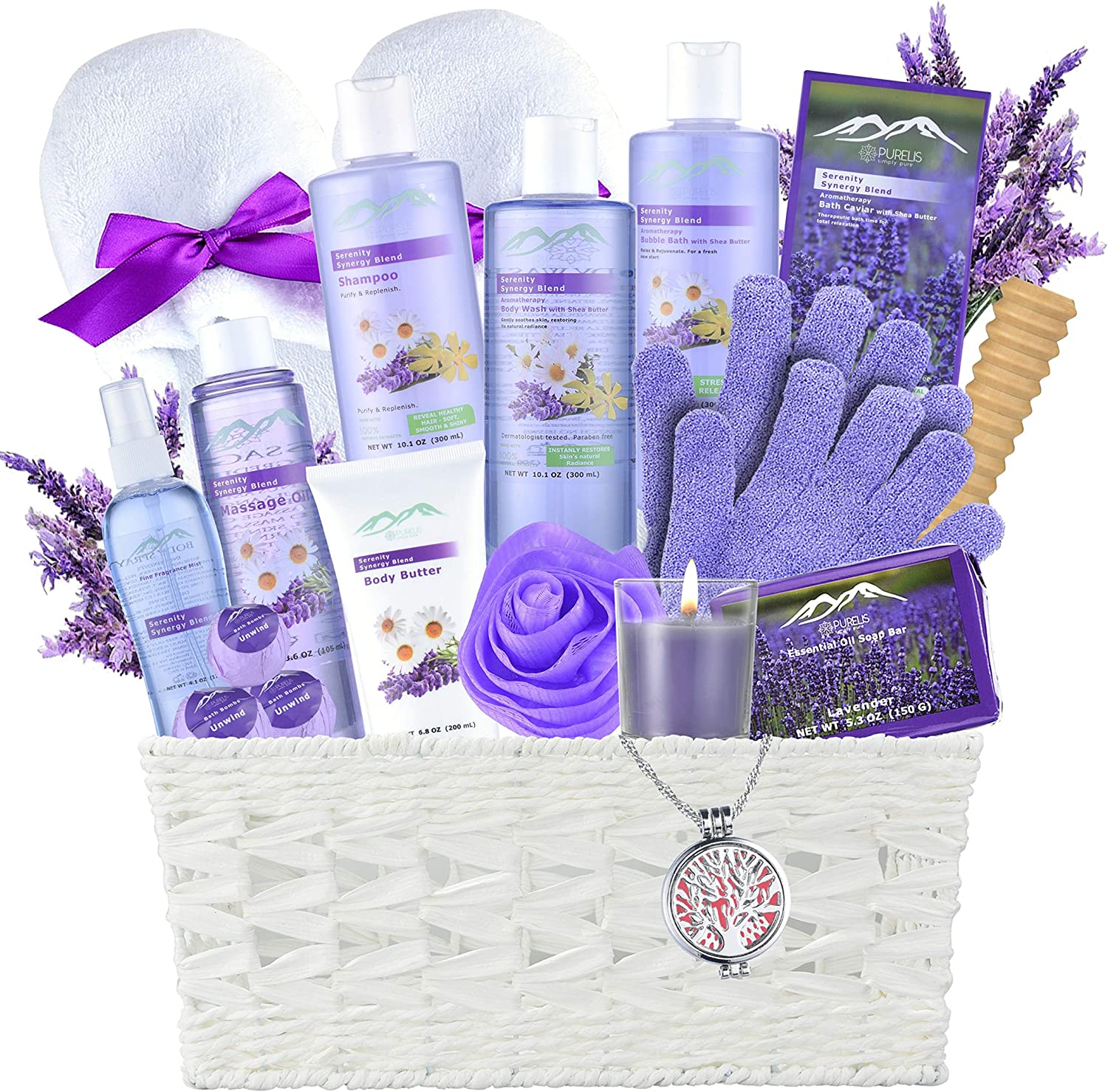 Lavender Gift Basket - #1 Natural Spa Kit - Spa Basket for Women & Men. Bath and Body Home Spa Set Includes 20 Spa Gifts with Essential Oil Necklace! Beauty Basket- Unique Gift Idea for Girl Friend
