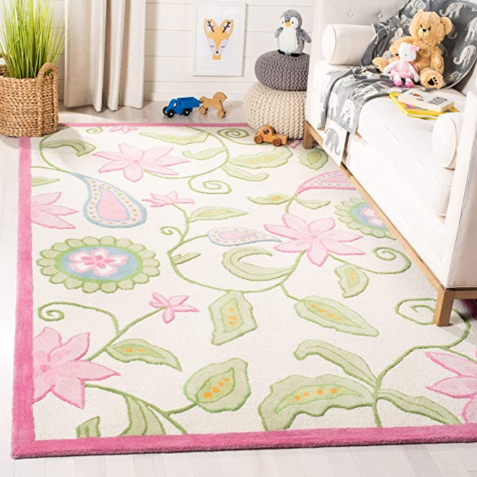 Safavieh Kids Collection Sfk351a Handmade Floral Wool Accent Rug 2 X 3 Ivory Pink Furniture Decor Amazon Com