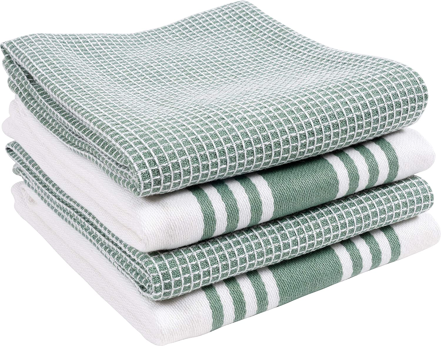 KAF Home Set of 4 Centerband and Waffle Flat Kitchen Towels | Set of 4 18 x 28 Inch Absorbent, Durable, Soft, and Beautiful Kitchen Towels | Perfect for Kitchen Messes and Drying Dishes – Sage