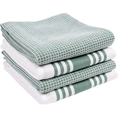KAF Home KT-MADWF-SG-S4 Centerband and Waffle Flat Absorbent, Durable, Soft, and Beautiful Towels | Perfect for Kitchen Messes and Drying Dishes, 18 x 28 - Inches, Sage