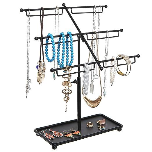 Amazoncom Black Metal 3 Tier Countertop Jewelry Hanger Tree Rack