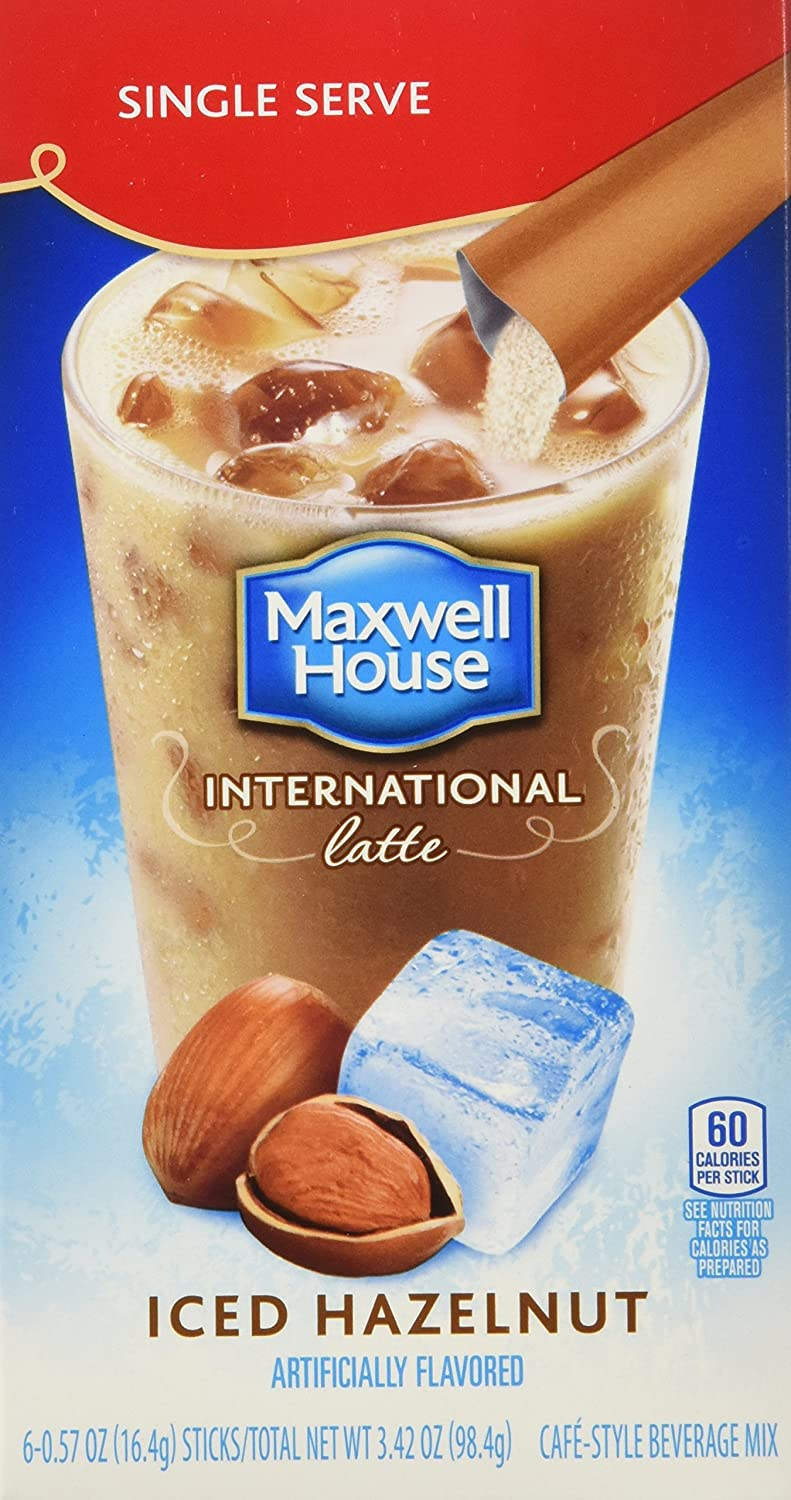 Maxwell House Hazelnut Iced Latte Singles International Cafe (3.42oz Boxes, Pack of 8)
