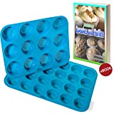 Silicone Muffin & Cupcake Baking Pan Set (12 & 24 Mini Cup Sizes) - KPKitchen Non Stick, BPA Free & Dishwasher Safe Bakeware Tins - Blue Top Home Kitchen Rubber Trays & Molds - Plus Free Recipe eBook