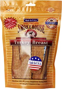 Smokehouse 100-Percent Natural Turkey Breast Dog Treats, Reseal Bag
