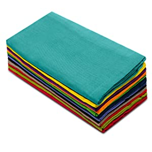 Cotton Craft Dinner Napkins, 20 by 20-Inch, Pack of 12, Multi-Colors