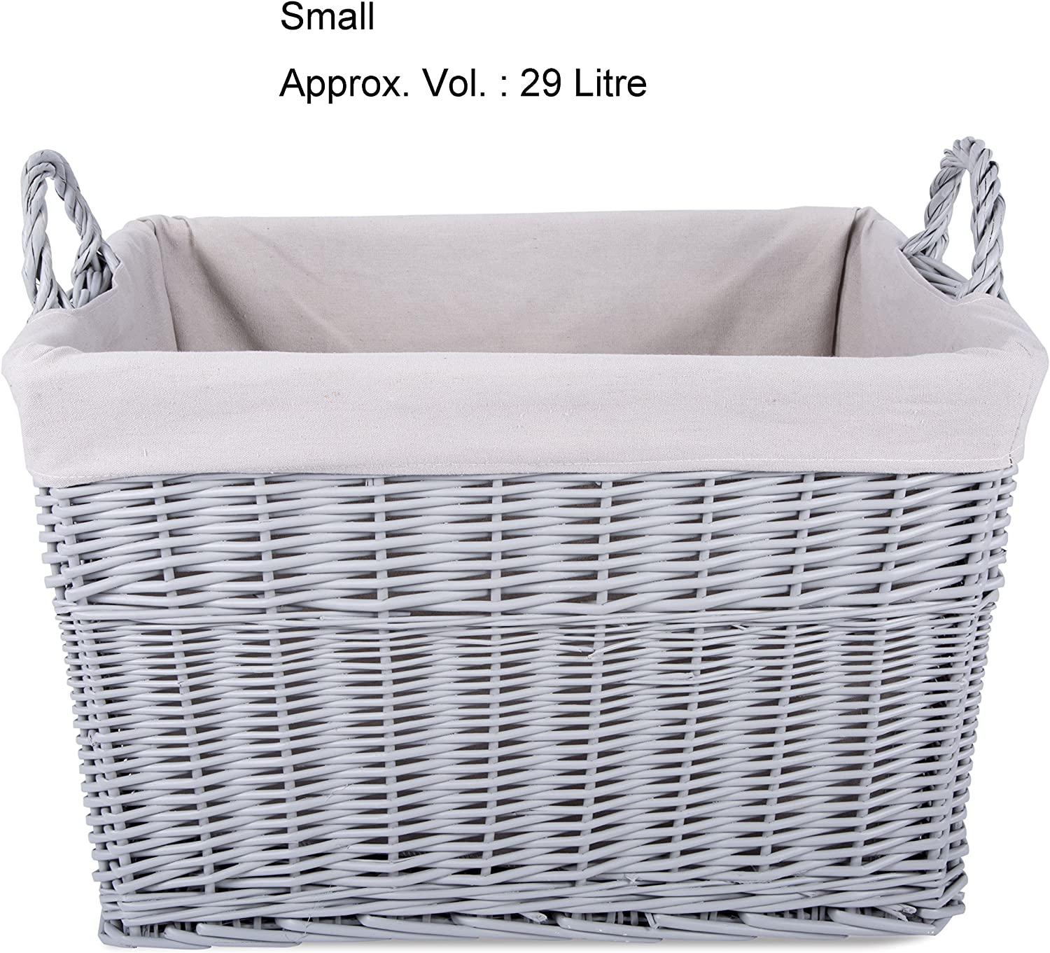 Home Storage Grey Painted Rectangule Wicker Basket Laundry Toys Baby Nursery Collection Box (Small)