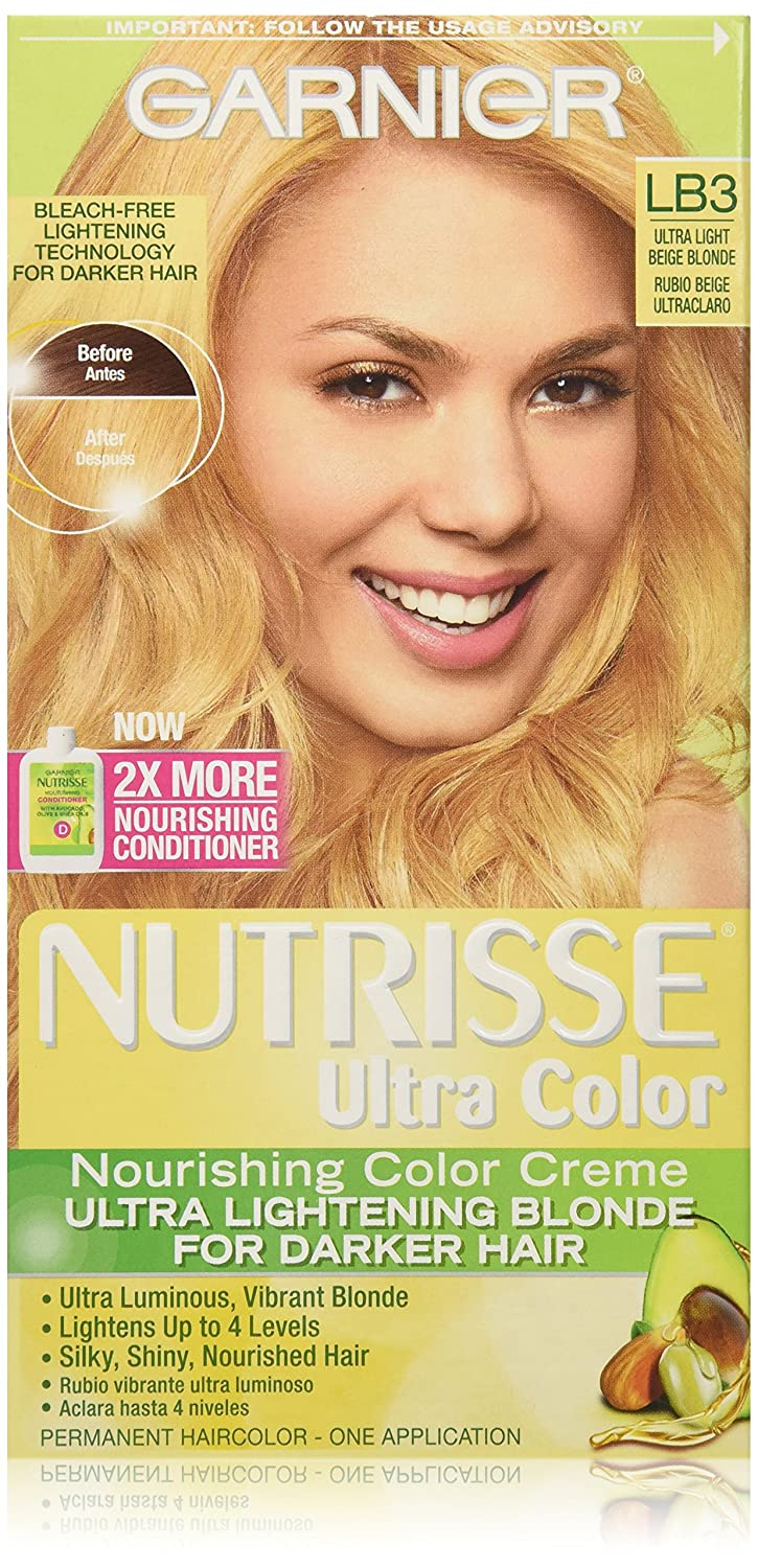 Garnier Nutrisse Ultra Color Nourishing Color Creme, LB3 Ultra Light Beige Blonde (Packaging May Vary) Garnier Hair Color K1294800