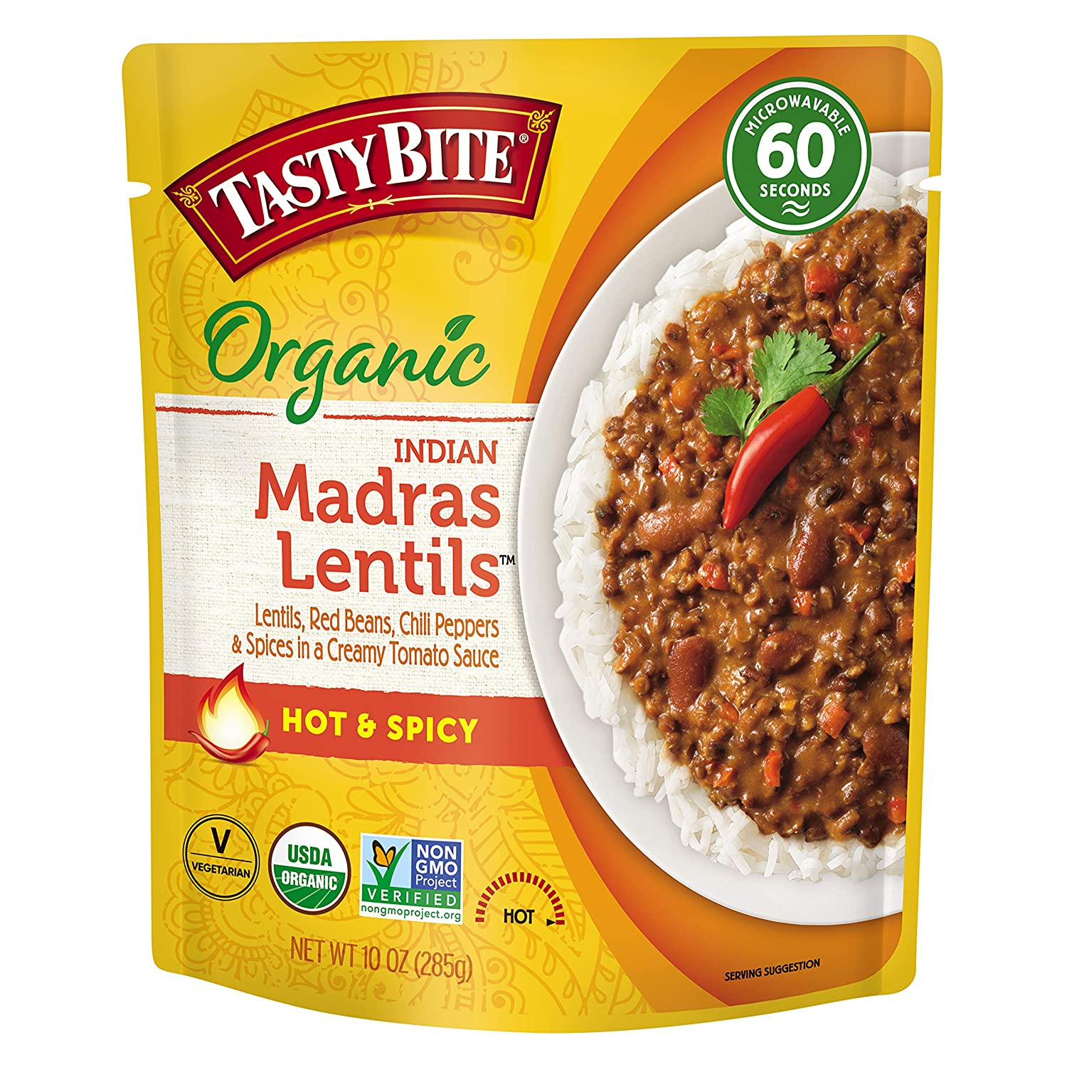 Tasty Bite Madras Lentils, Hot and Spicy, Microwaveable Ready to Eat Entrée, 10 Ounce (Pack of 6)
