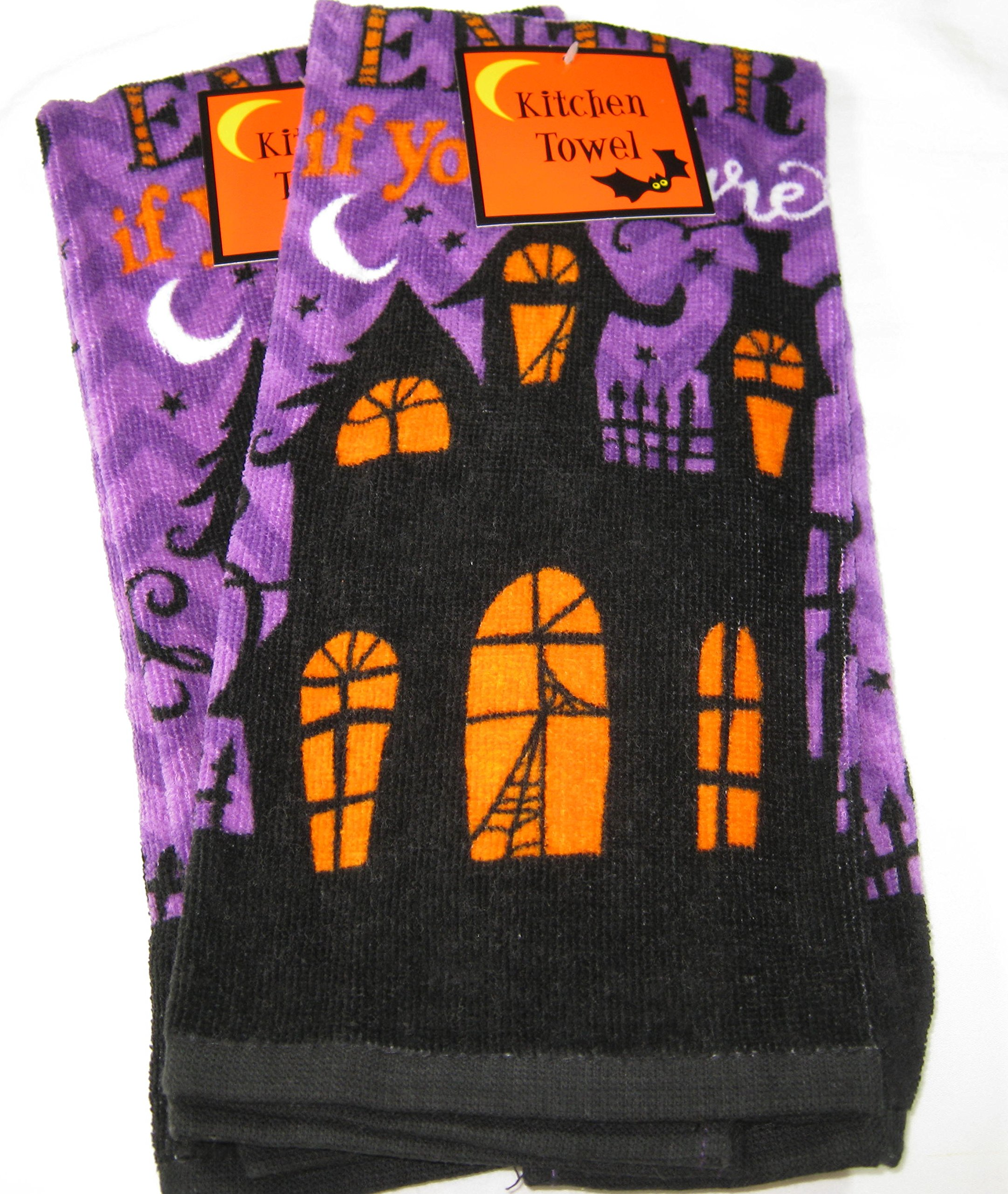 Set of 2 Halloween Haunted House Kitchen Towels 100% Cotton 15'' x 25