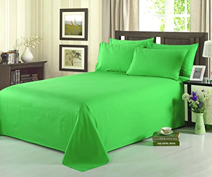 Beau Tache 4 Piece 100% Cotton Solid Lime Green Bed Sheet Set, Cal King