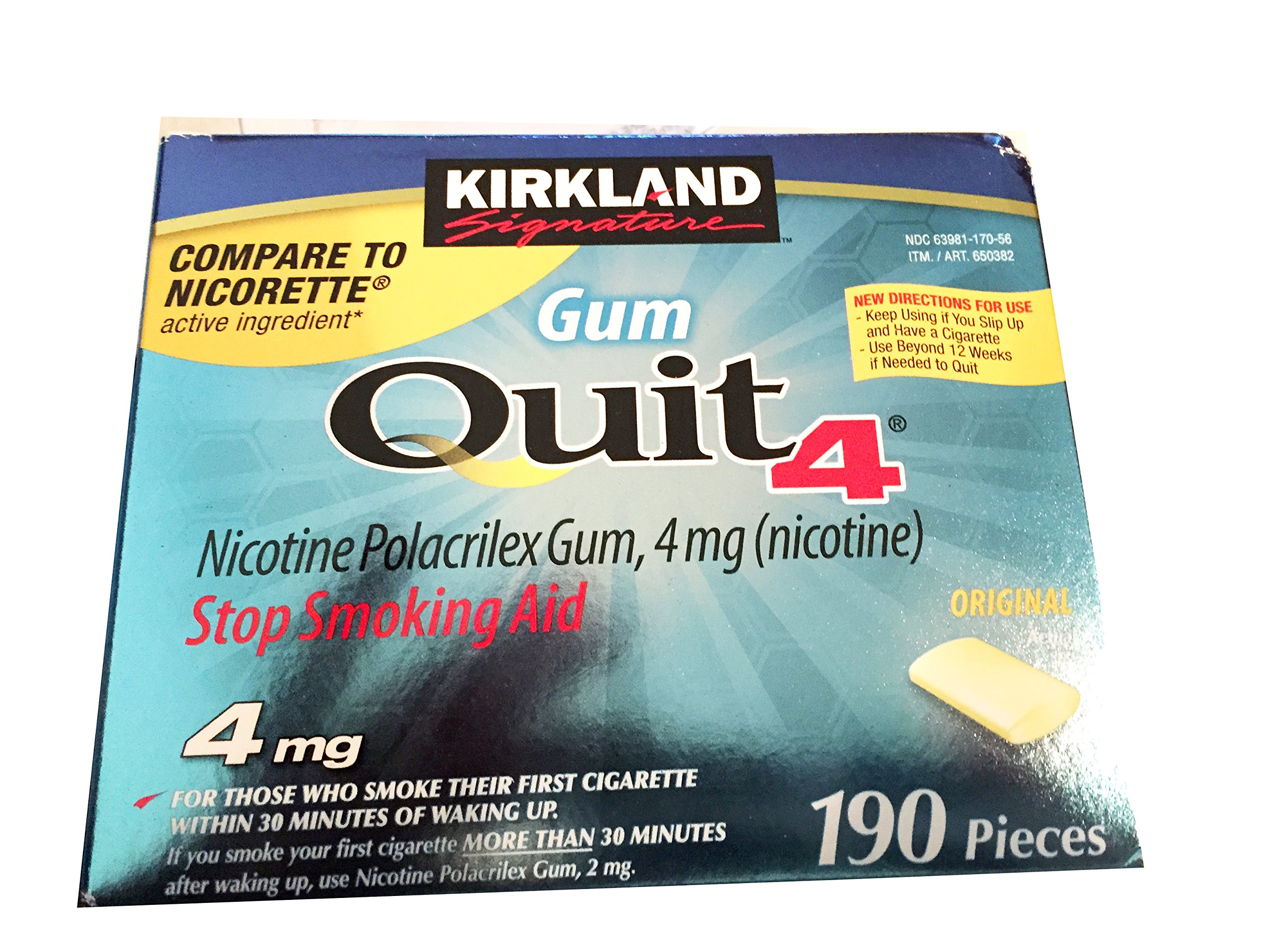Kirkland signature Gum Quit 4 Stop Smoking Aid 190 pieces