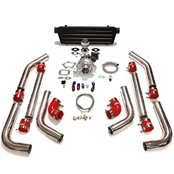 "Universal Turbocharger DIY Upgrade Turbo Kit 2.5"" Silver Piping Black Intercooler Red Silicone Couplers"
