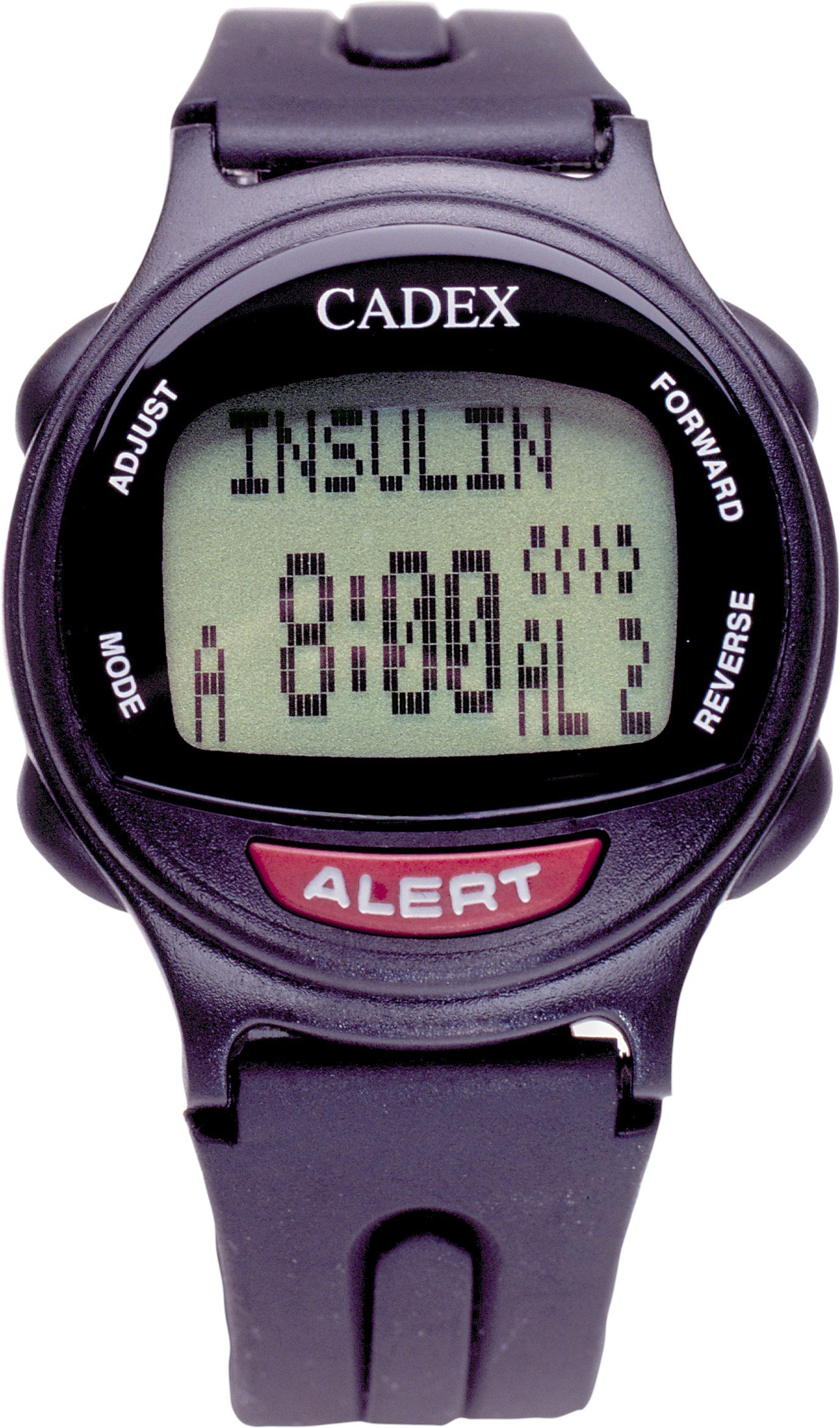 12 Alarm e-pill Medication Reminder Watch. CADEX Alarm Watch with Medical Alert Identification ID. BLACK watch.
