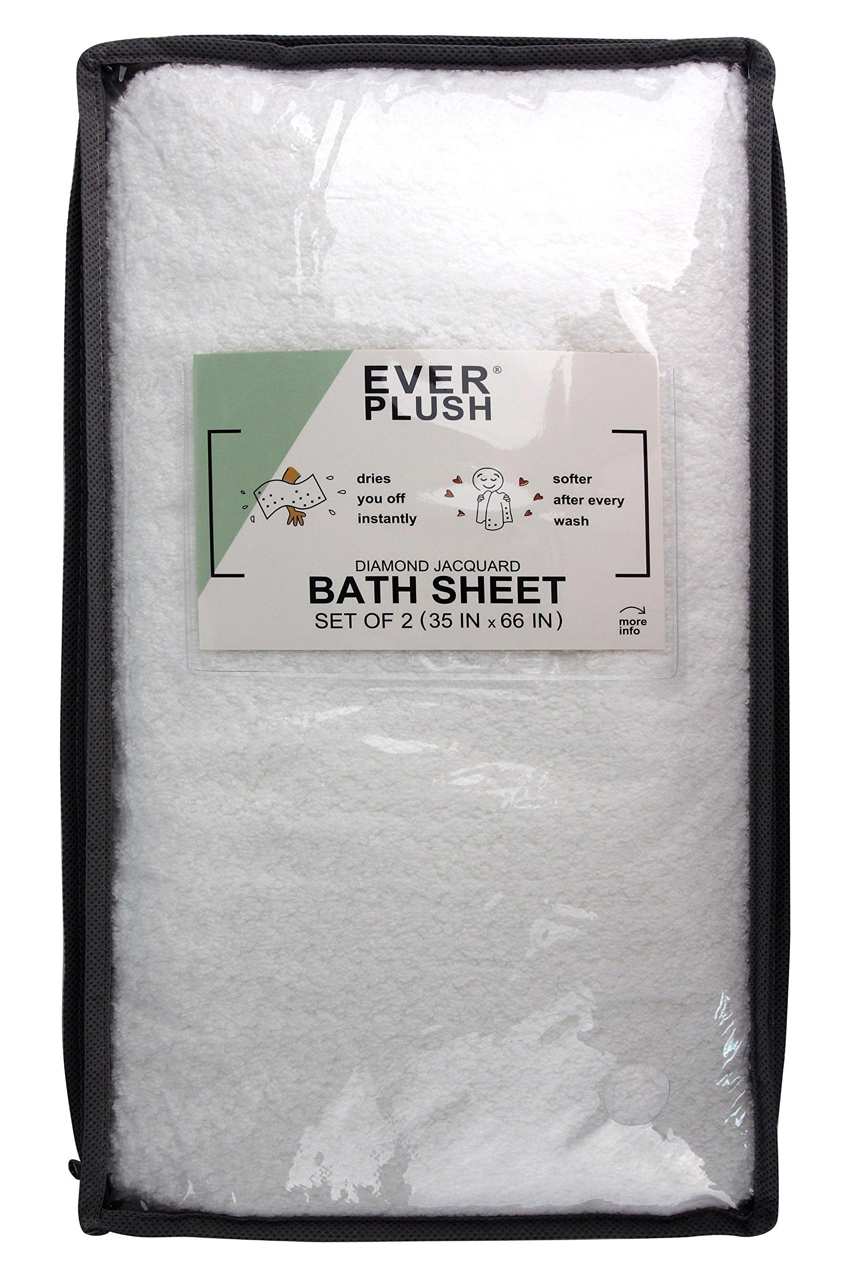 Everplush Diamond Jacquard Bath Sheet 2 Pack in White by Everplush (Image #6)