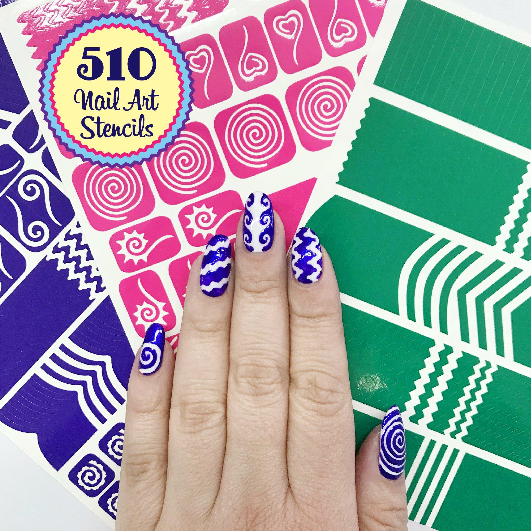 Amazon.com: 439 Nail Art Stencils Vinyl - 21 Different Shapes ...