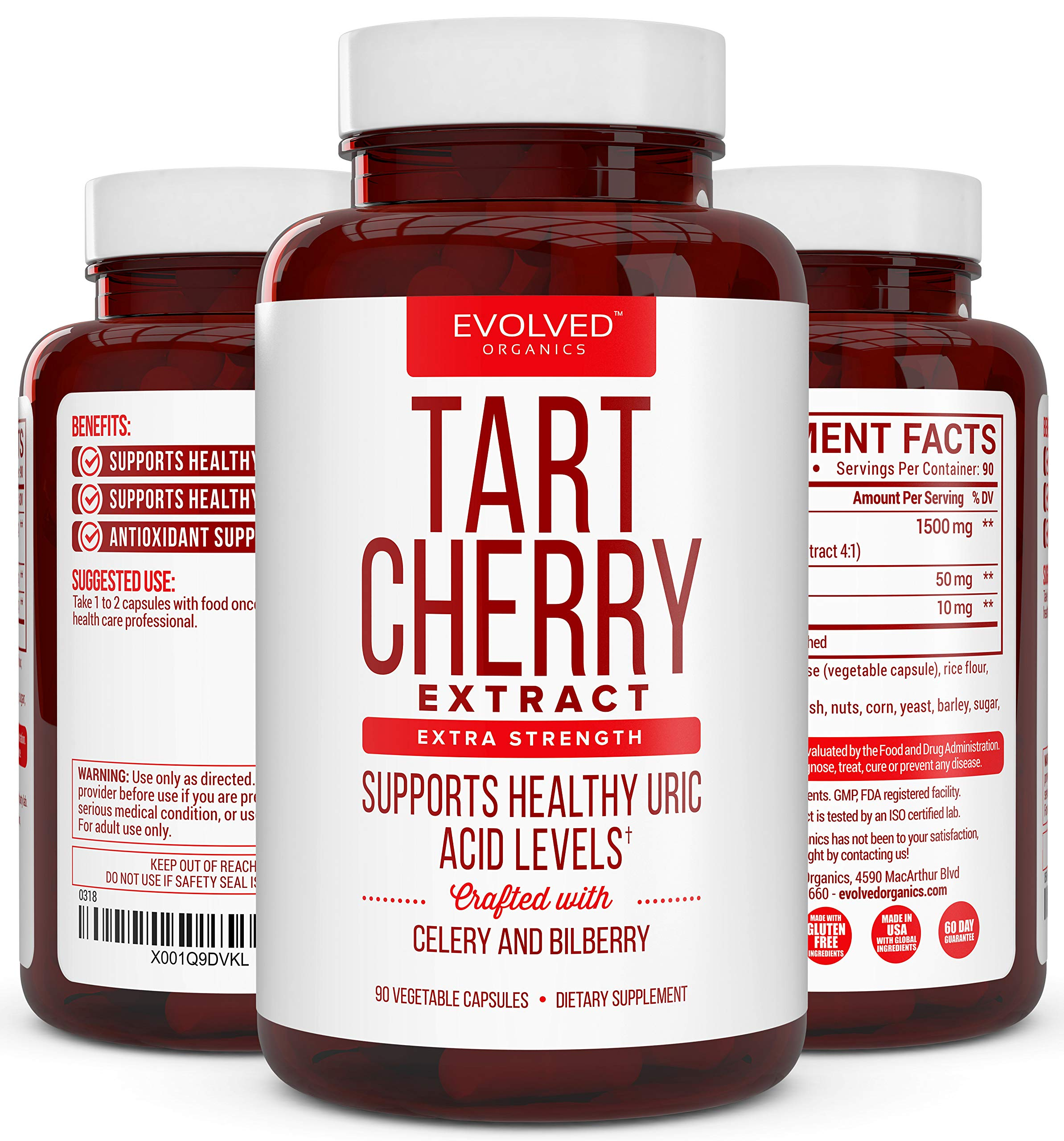 Extra Strength Tart Cherry Extract 1500mg Plus Celery Seed and Bilberry Extract -Anti Inflammatory, Antioxidant Supplement, Uric Acid Support, Muscle Recovery and Joint Pain -90 Veggie Capsules​