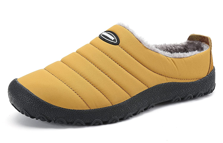 Herren Damen Winterschuhe Warm Winter Hausschuhe Anti Rutsch Wasserdicht Slippers Outdoor Freizeit Schuhe Santimon Gelb