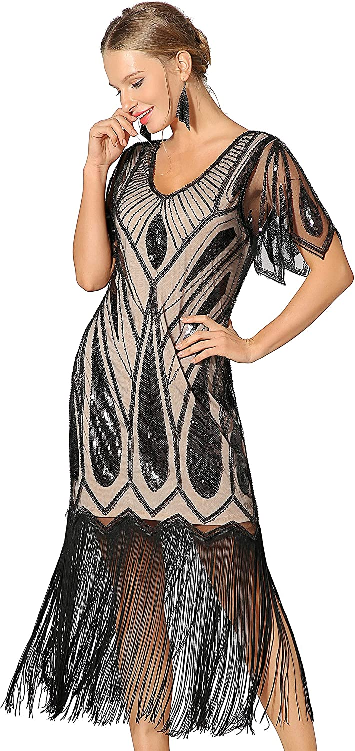 1920s Fashion & Clothing | Roaring 20s Attire Metme Womens Sequins Beaded Art Deco Lace Dresses for 20s Cooktail Party Fringed Dress $62.99 AT vintagedancer.com