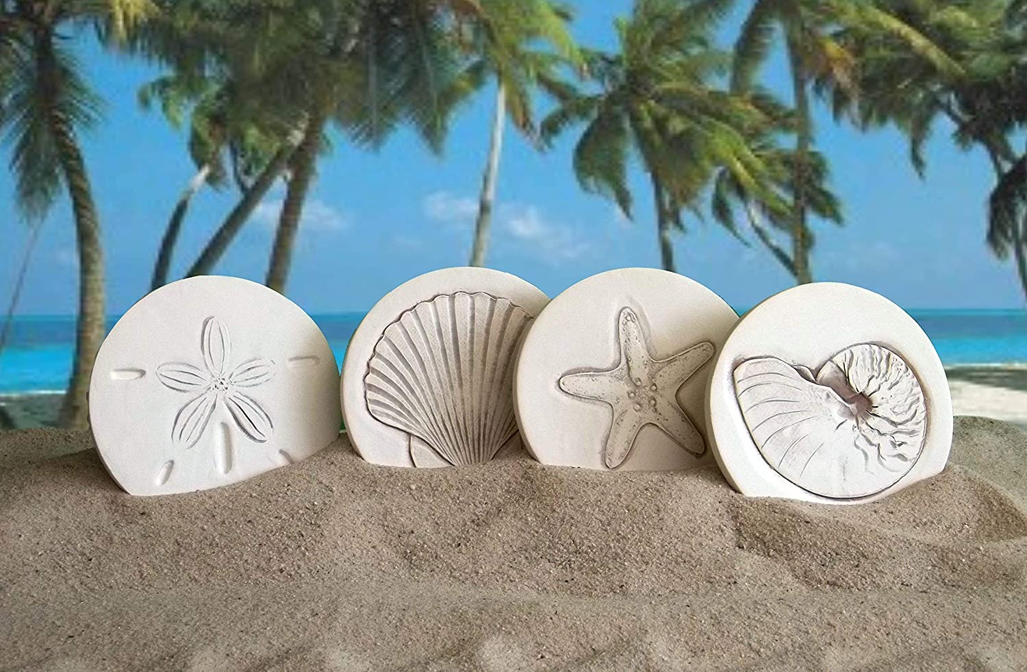 Drink Coasters by McCarter Coasters, Mixed Shells, Absorbent, Light Beige 4.25 inch (4pc)