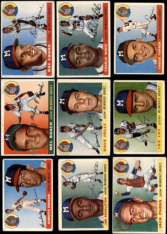 1955 Topps Milwaukee Braves Team Satz Milwaukee Braves (Baseball Set) Dean'S Cards 2 - gut Braves
