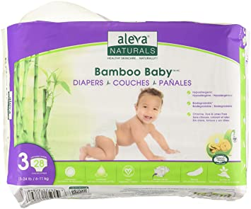 Aleva Naturals Bamboo Baby Diapers, Size 3, (13-24 lbs / 6
