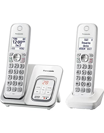 PANASONIC Expandable Cordless Phone System with Answering Machine and Call  Block - 2 Cordless Handsets - 3cc486b864