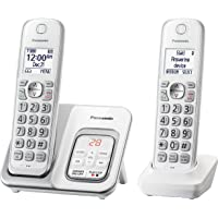Panasonic DECT 6.0 Expandable Cordless Phone with Answering Machine and Smart Call Block - 2 Cordless(White)
