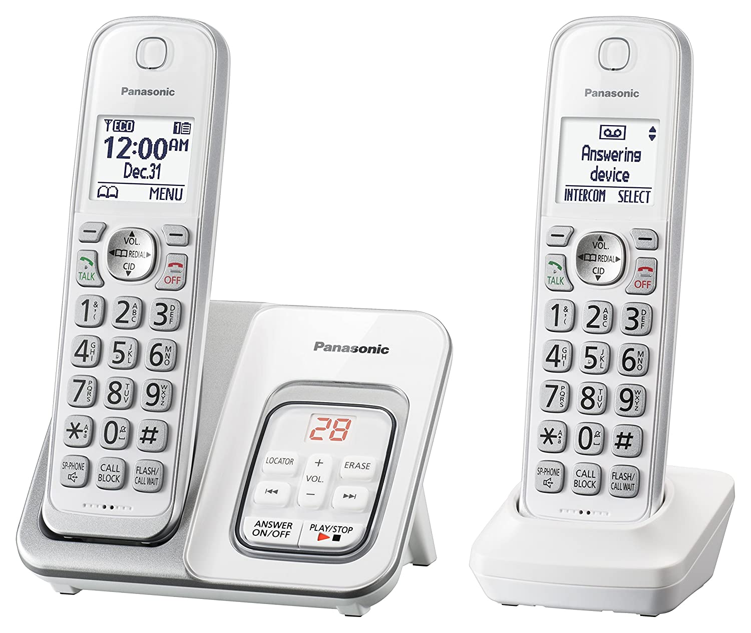 PANASONIC Expandable Cordless Phone System with Answering Machine and Call Block - 2 Cordless Handsets - KX-TGD532W (White)