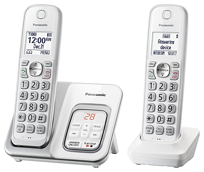 Panasonic Expandable Cordless Phone with Call Block and Answering Machine -2 Handsets Landline Phones at amazon