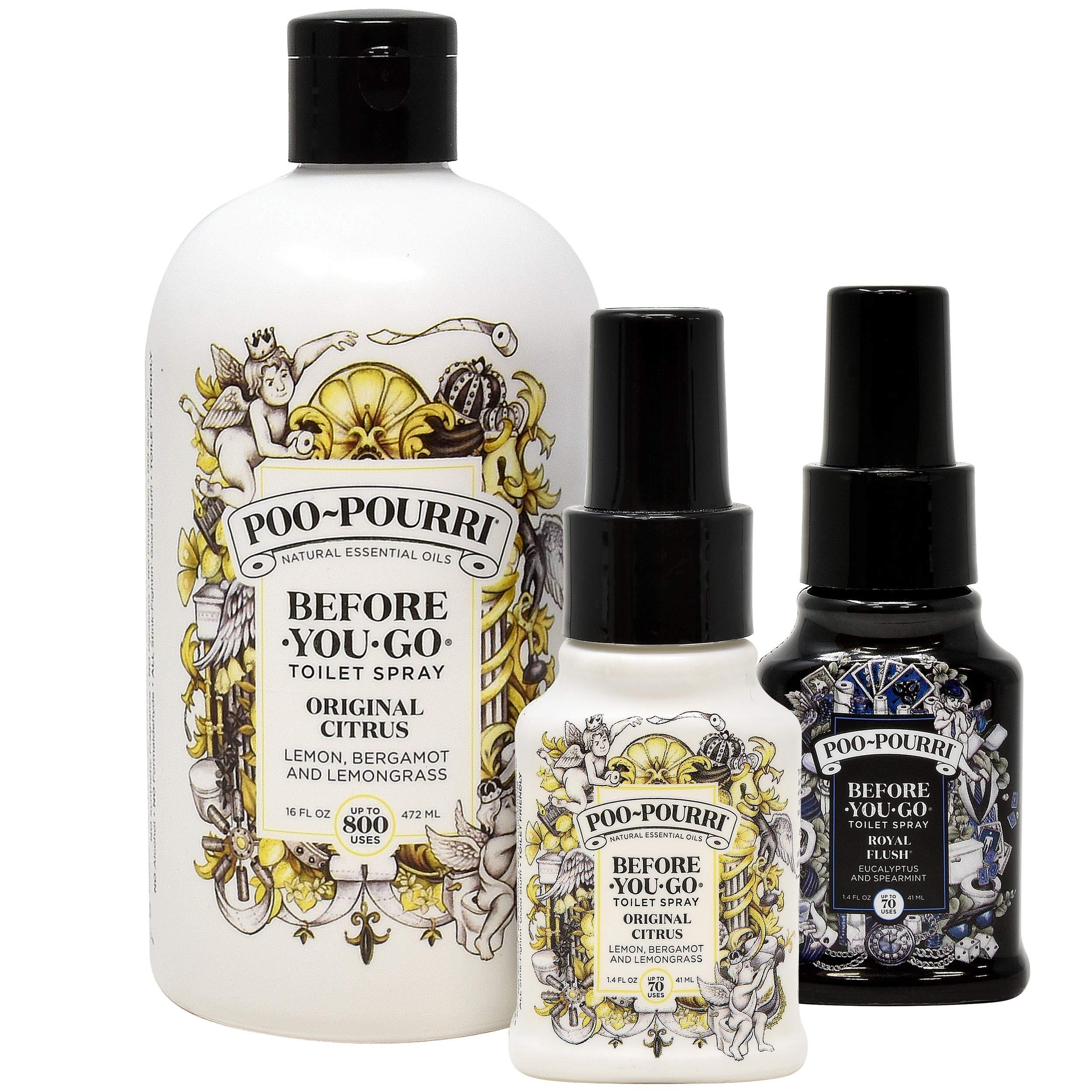 Poo-Pourri Original 16-Ounce Refill Bottle, 1.4 Ounce Original Bottle and 1.4 Ounce Royal Flush Bottle