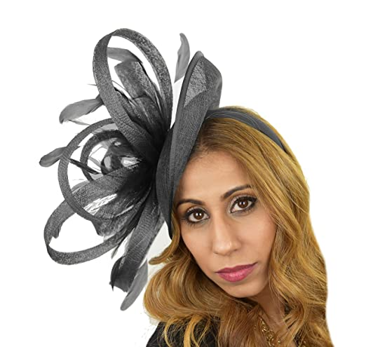 Large 12 Inch Million Dollar Sinamay Ascot Fascinator Hat - With Headband -  Available in 25 colours at Amazon Women s Clothing store  a73e042da9ff