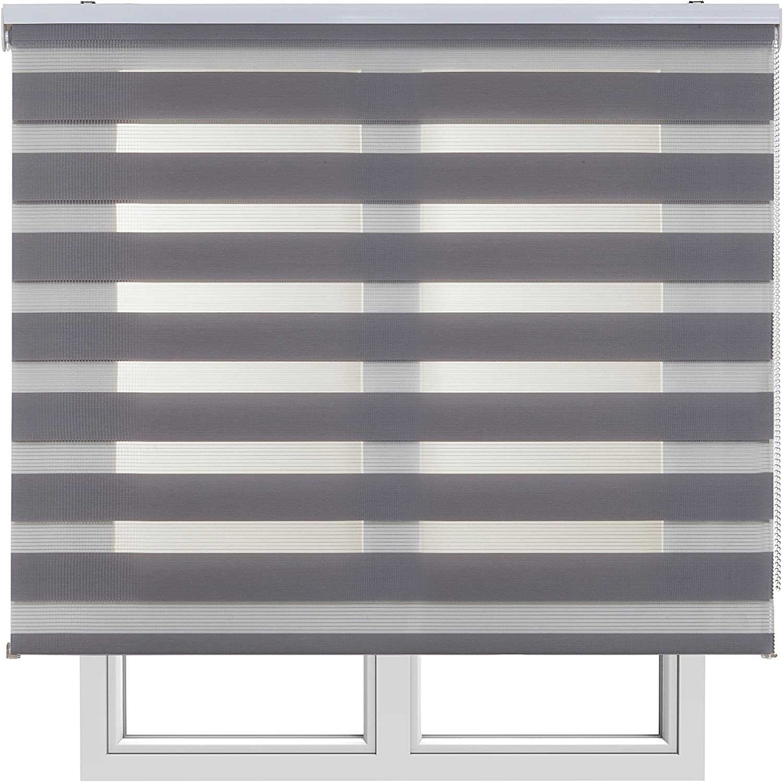 Estores Basic,Stores noche y día, Gris, 150x250cm, estores para puertas, persianas enrollables para el interior.