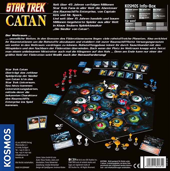 KOSMOS 694814 - Star Trek Catán, Juego de Mesa (de 3 a 4 Jugadores): Teuber, Klaus: Amazon.es: Juguetes y juegos