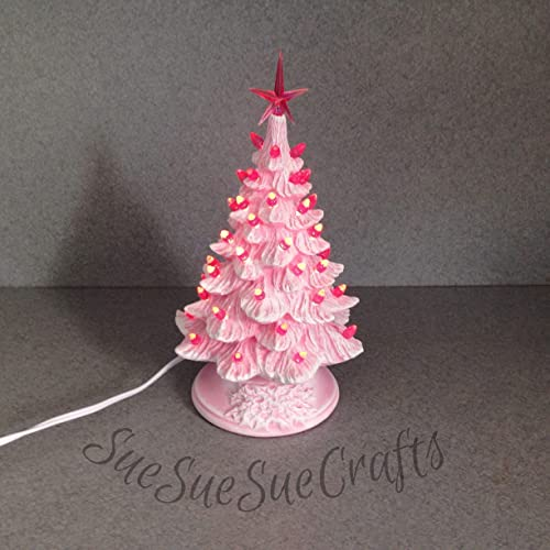 Medium Size Ceramic Pink Dry Brushed Lighted Christmas Tree With Small Pink Twist Lights 11 Inches Tall