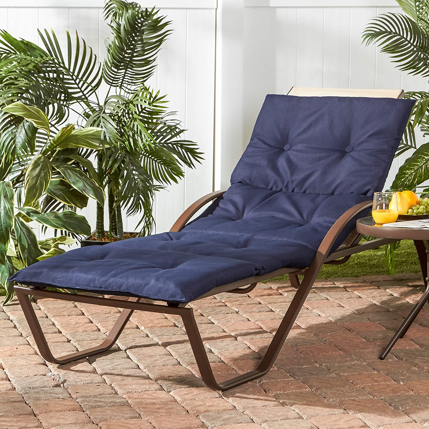Greendale Home Fashions OC8665-NAVY Outdoor Lightweight Chaise Cushion, Navy